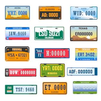Conjunto de ícones de vetor de placas de número de matrícula do veículo de diferentes bandeiras do país