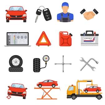 Conjunto de ícones de vetor de serviço de carro