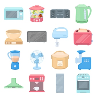 Conjunto de ícones de vetor dos desenhos animados equipamentos cozinha. ilustração em vetor de eletrodomésticos.