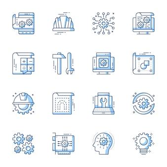 Conjunto de ícones de vetor linear de engenharia e máquinas.