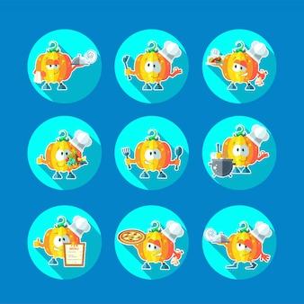 Conjunto de ícones de vetor liso redondo com abóbora de chef e utensílios de cozinha