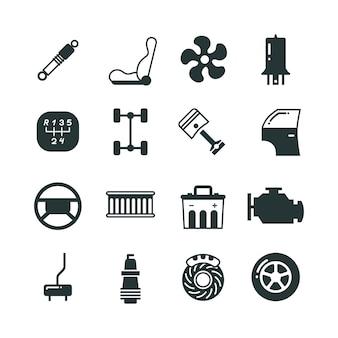 Conjunto de ícones de vetor mecânico de peças de carro