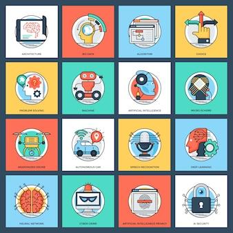 Conjunto de ícones de vetor plana de inteligência artificial