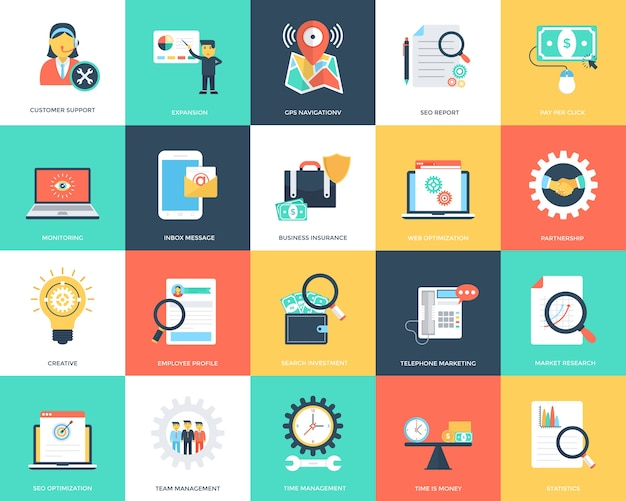 Conjunto de ícones de vetor plana seo e marketing