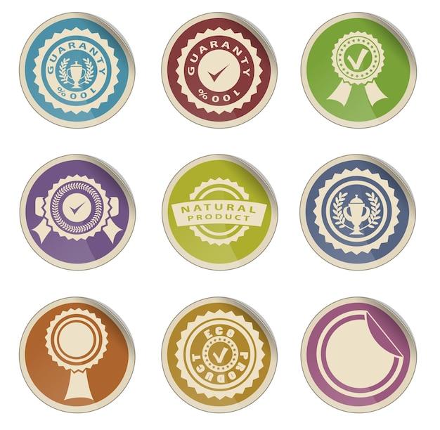 Conjunto de ícones de vetor simples com fitas e selos