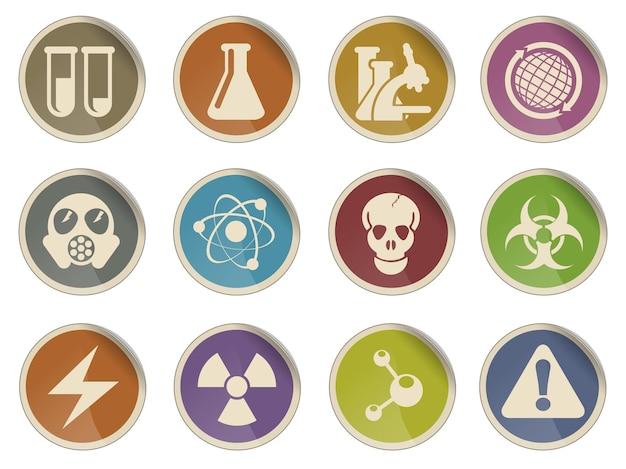 Conjunto de ícones de vetor simples de símbolos de ciência
