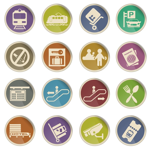 Conjunto de ícones de vetor simples de símbolos de estação de trem