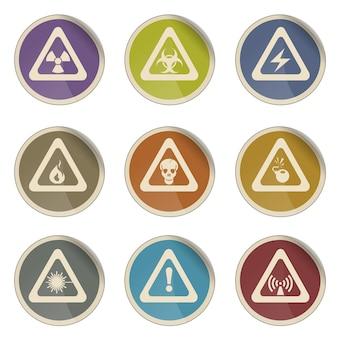 Conjunto de ícones de vetor simples de sinal de perigo