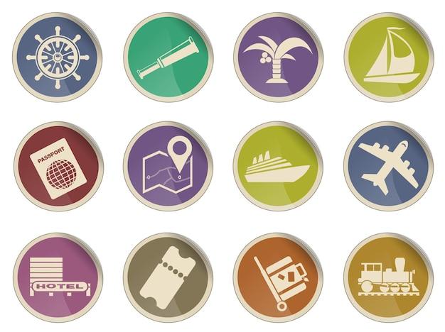 Conjunto de ícones de vetor simples de viagens