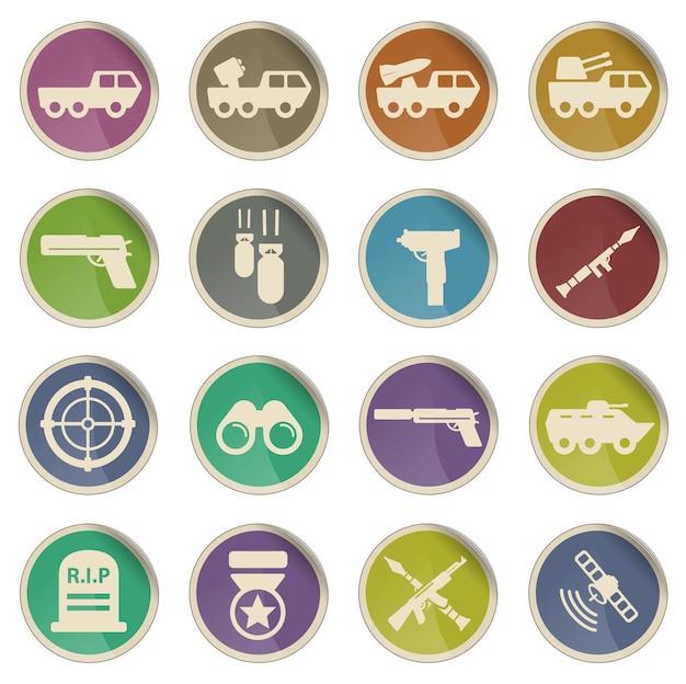 Conjunto de ícones de vetor simplesmente militar
