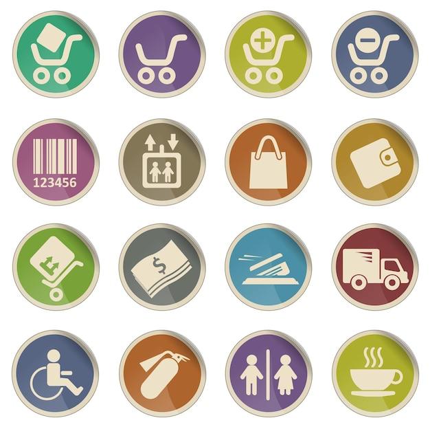 Conjunto de ícones de vetor web de compras