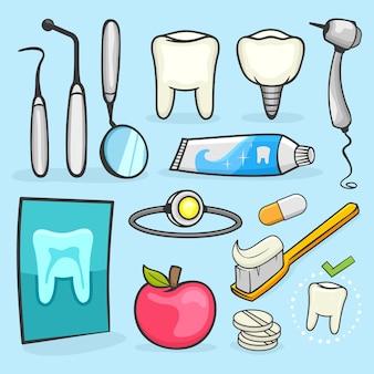 Conjunto de ícones de vetores e odontologia vetorial. elemento para clínicas dentárias