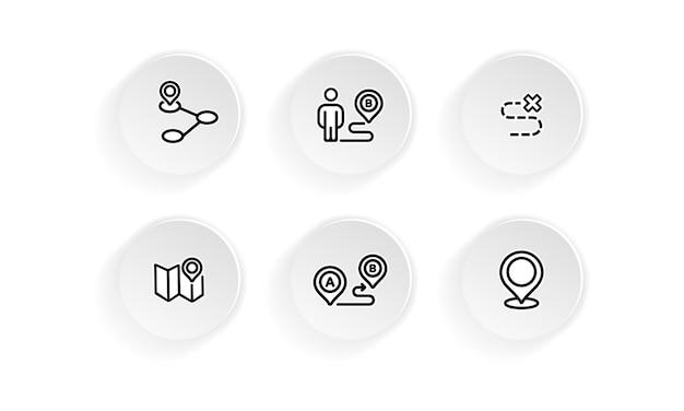 Conjunto de ícones de viagem do mapa de localização. vetor em fundo branco isolado. eps 10.