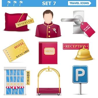 Conjunto de ícones de viagens 7 isolado no branco