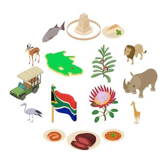 Conjunto de ícones de viagens da áfrica do sul, estilo isométrico