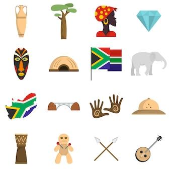 Conjunto de ícones de viagens da áfrica do sul