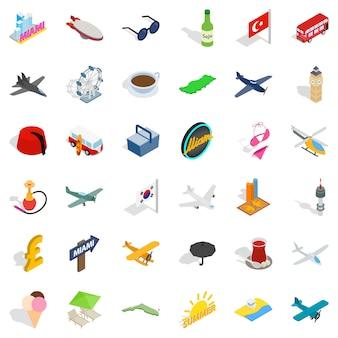 Conjunto de ícones de viagens de avião, estilo isométrico