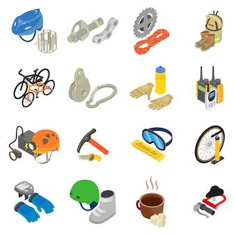 Conjunto de ícones de viagens de montanha