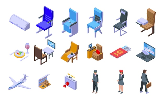 Conjunto de ícones de viagens de primeira classe. conjunto isométrico de ícones de vetor de viagens de primeira classe para web design isolado no fundo branco