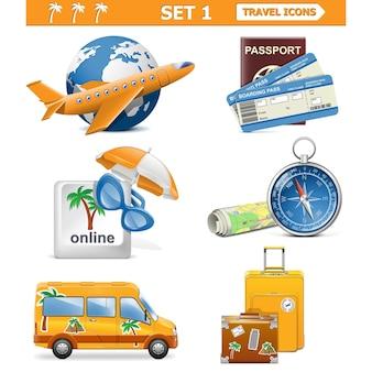 Conjunto de ícones de viagens de vetor 1