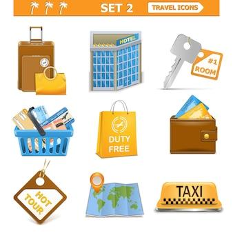 Conjunto de ícones de viagens de vetor 2