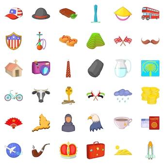Conjunto de ícones de viagens do mundo, estilo cartoon
