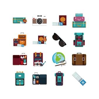 Conjunto de ícones de viagens e aeroporto isolado vector design