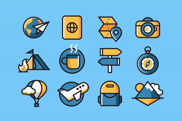 Conjunto de ícones de viagens e aventura
