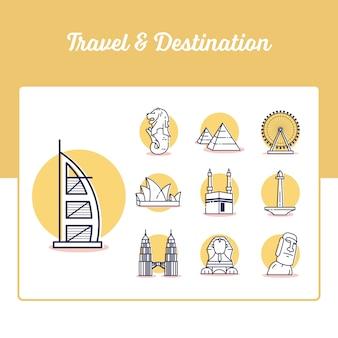 Conjunto de ícones de viagens e destino com estilo de estrutura de tópicos