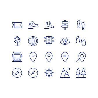 Conjunto de ícones de viagens e férias vector isolado