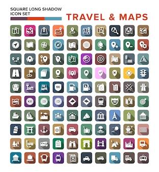 Conjunto de ícones de viagens e mapa com sombra longa