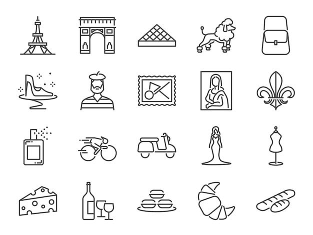 Conjunto de ícones de viagens frança.