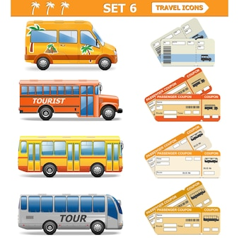Conjunto de ícones de viagens isolado no branco