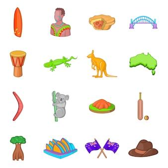 Conjunto de ícones de viagens na austrália