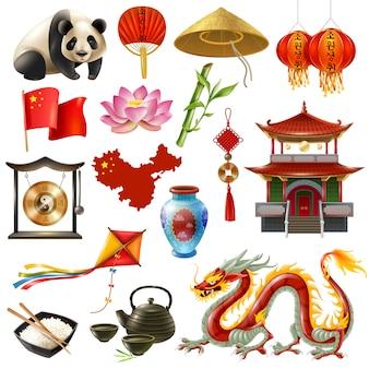 Conjunto de ícones de viagens na china