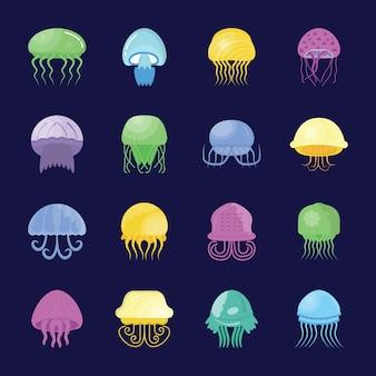 Conjunto de ícones de vida aquática