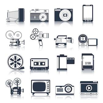 Conjunto de ícones de vídeo foto preto