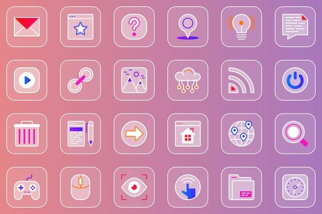 Conjunto de ícones de vidro mórfico da interface do usuário do site