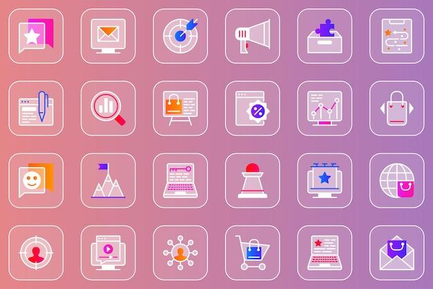 Conjunto de ícones de vidro mórfico da web de marketing digital
