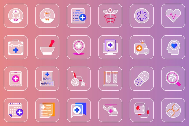 Conjunto de ícones de vidro mórfico da web de serviços médicos