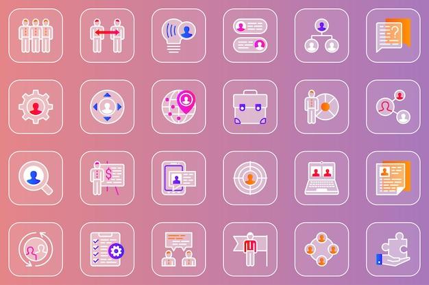 Conjunto de ícones de vidro mórfico da web para trabalho em equipe