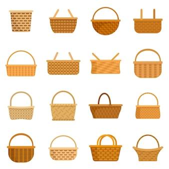 Conjunto de ícones de vime. conjunto plano de ícones de vetor de vime isolado no fundo branco