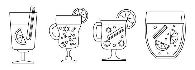 Conjunto de ícones de vinho quente com mel