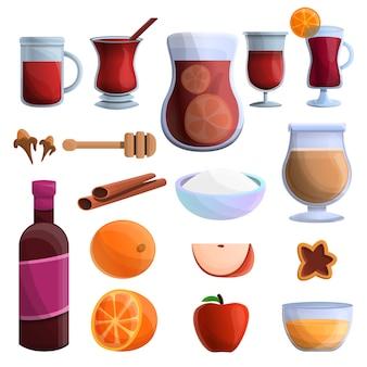 Conjunto de ícones de vinho quente, estilo cartoon