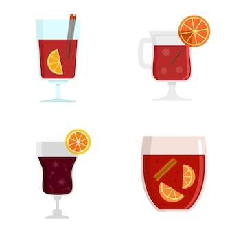 Conjunto de ícones de vinho quente