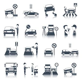 Conjunto de ícones de violação de tráfego