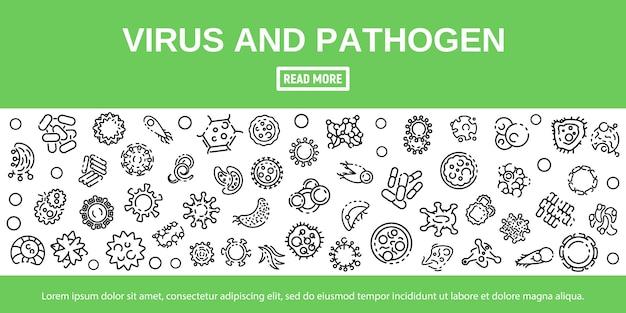 Conjunto de ícones de vírus e patógeno em estilo de estrutura de tópicos