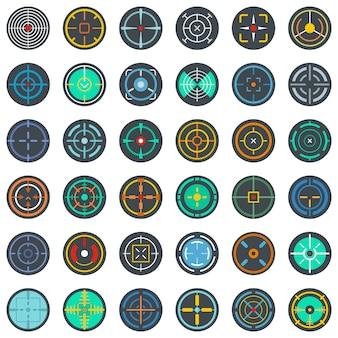 Conjunto de ícones de visão de escopo de alvo crosshair