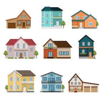 Conjunto de ícones de vista frontal de casas isolado no fundo branco