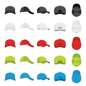Conjunto de ícones de vistas de boné de beisebol